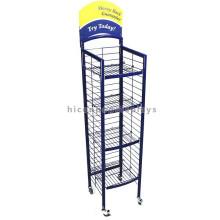 Starke 4-Layer-Werbung Geld sparen Bodenständer Metall Rolling Grocery Store Display Regale