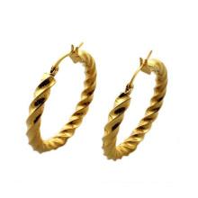 Brincos de ouro da moda para as mulheres, brincos de ouro rodada studs