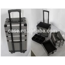 cosmétiques de beauté professionnel aluminium composent cas avec chariot