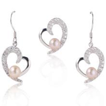 Pérolas jóias, pérolas brancas jóias coração, brinco de pérola, pingente de pérola (WSHWV02276E)