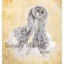 Bufandas de lino de moda con bordado