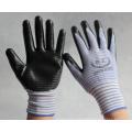 Luvas de poliéster 13g revestidas com nitrilo na palma para o mercado de peru