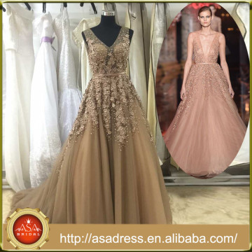 AR-002 New Style Real Design V-Neck A-Line Party Gowns Champagne Lace Applique Sexy Backless Evening Dress