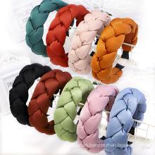 Bandeau fascia per capelli Winter Thick Sponge Solid Silk Braid headband Hairband Women Girl Hair Accessories Wholesale