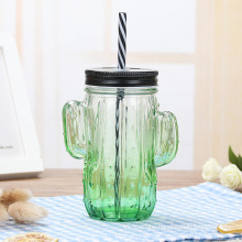 High Quality Drinking Glass Mason Jar with Handle Straw and Lid Wholesale