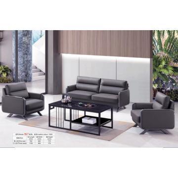 Black Leather Office Sofa Set