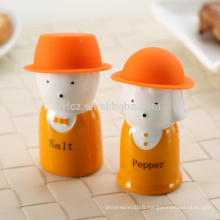 sel et poivre avec chapeau de silicone, bleu
