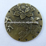 Flat Metal Bronze Coin Carved Flower Pendants Accessories Pendants Scarf