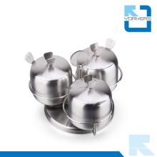 3 piezas de diseño europeo de acero inoxidable especias sal y pimienta Jar Set