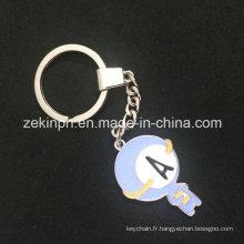 Porte-clés en métal moulé sous pression en émail doux