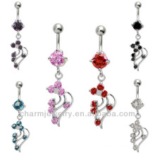 Vine Dangle Belly Button Navel Rings 316l Surgical Steel 14 Gauge BER-012