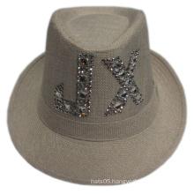 Village Hats Fedora Hat with Rhinestone Logo