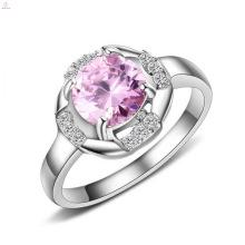 Anillos de mujer con incrustaciones de piedra de diamante rosa grande de acero inoxidable de moda