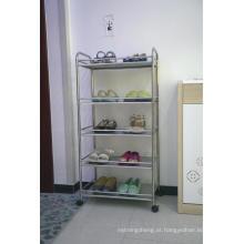 Organizador do armazenamento da prateleira do cromo do metal da cremalheira da cozinha de 4 camadas