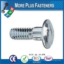 Made In Taiwan Zinc Clear Stainless Steel Steel Zinc Finish Ribbed Neck Round Head Carriage Bolt