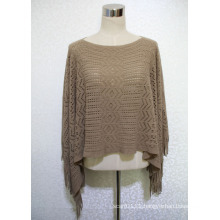 Lady 100% Acrylic Knitted Hollow Fringed Shawl Poncho (YKY4511)