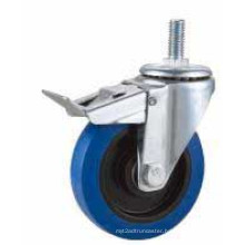 Bolt Hole Swivel Type Blue Rubber Industrial Caster (KXX5-D)