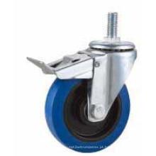 Bolt Hole Swivel Type Blue Rubber Industrial Caster (KXX5-D)