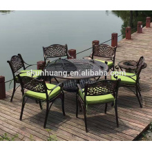 outdoor cast aluminum chairs dining sets with BBQ table furniture