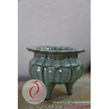 Bester Verkauf Fantastischer Entwurf Blauer glasierter prägeartiger keramischer Zenser Gemacht in Longquan