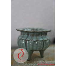 Best Sale Fancy Design Blue Glazed Embossed Ceramic Censer Made in Longquan