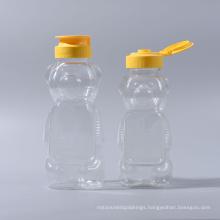 480g/350ml Plastic Pet Bear Shape Pet Honey Bottle Jam Bottles Ketchup Bottle Mayonnaise Bottle with Silicone Valve Caps (EF-H03480)