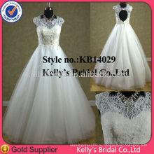 Роскошный новый 2014 бальное платье кружева свадебное платье