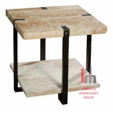 Industrial Metal Massivholz 2tier quadratischer Couchtisch