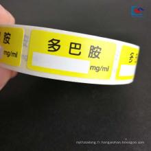 Autocollant de drogues d'étiquette de pesticide imprimé par couleur pour des instruments médicaux