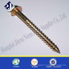 Vis à bois à haute résistance zinc jaune pour US FASTENAL avec TS16949 ISO9001