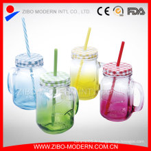 Juice Canister Customized Embossed 16oz Glass Mason Jar