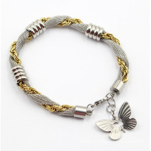 Rose Gold & Silver Stainless Steel Bracelet with Butterfly Charm
