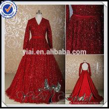 RSW461 Vestido de noiva árabe vermelho com renda de manga comprida com trem destacável