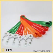 Personalized logo printing plastic retractable clip lanyard
