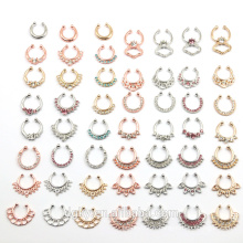 Plus de 40 modèles Zircon Fake Nose Ring Nose Body Jewelry Cheap Fake Septum Rings Piercing