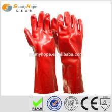 Красные перчатки с водонепроницаемым ПВХ покрытием