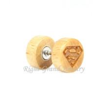 Superman Logo Holz Body Piercing 10mm gefälschte Stecker Ohrstecker Ohrringe