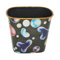 Plastic Printed Black Open Top Trash Can (B06-067)