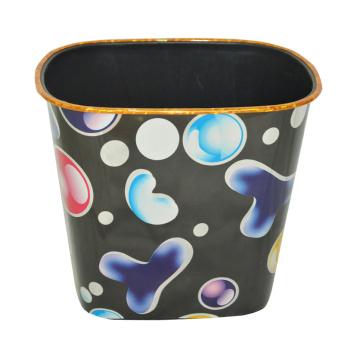 Пластиковая печатная черная открытая корзина для мусора (B06-067)