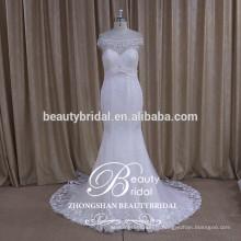 Couser sur des perles de cristal robe de mariée ivoire robe de mariée romantique et rayé avec de vraies images de sirène