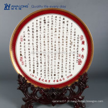Pintura da poesia alta qualidade fino osso China Decorativa Office Plates, Vintage Home Decor