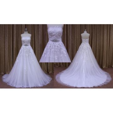 Vestido de novia sin tirantes de encaje de dama de honor