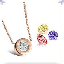 Joyería joyería joyería de cristal collar de acero inoxidable colgante (nk264)