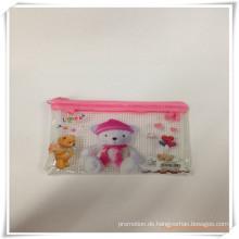 Bär Cartoon Mesh und PVC Reißverschluss Bleistift Tasche / Fall für die Förderung