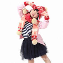 Knitted winter hat, scarf and gloves set, suitable for kids/babies, fashionable Christmas deer style