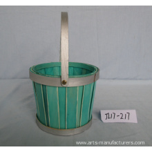 Multi-colors Round Wood Chip Flower Pot