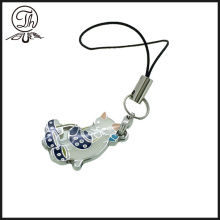 Cat mobile phone charm strap pendant metal