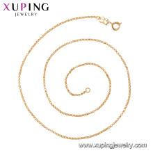 44307 xuping simples design delicado peso leve colar de correntes de ouro com botão de primavera