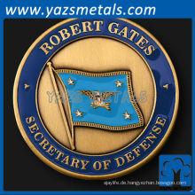 fertigen Metall Münzen, benutzerdefinierte Sekretär der Verteidigung Robert Gates Herausforderung Münze