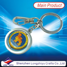 Personalized Token Roating Coin Floating Keychain Silver Metal Keyring (LZY800034)